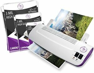 Thermal Laminator Machine Hot Cold Include 100 Pack Laminating Pouches Sheets