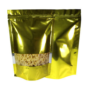 Various Qty Shiny Gold W clear Display Stand up Food Storage Zipper Bags 7x10