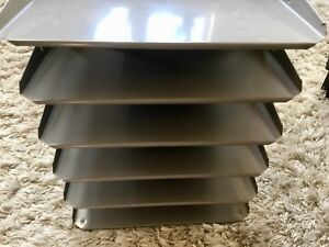 Vintage Lit ning 6 Tray Slot Metal Steel Desk Paper File Organizer Storage