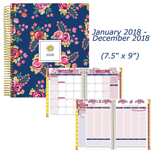 2018 Monthly Weekly Calendar Year Hard Cover Vision Planner 7 5 X 9 Floral