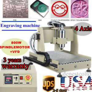 4 Axis 3040 Cnc Router Engraver Engraving Drilling Machine 3d Cutter 800w Vfd Us