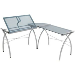 Workcenter Table L shaped Drafting Or Light Desk Glass Solid Top Stationary New