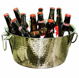 Brekx Anchored Double Walled Hammered Steel Beverage Tub Wine Chiller Large