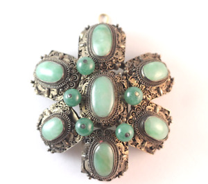 Vintage Chinese Silver And Jade Necklace Pendant