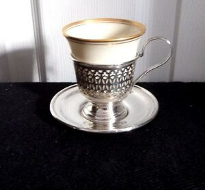 Antique Manchester Silver Co Sterling Silver Demitasse Cups Lenox Liner Set Of 6