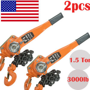 2pcs Chain Lever Block Hoist Come Along Ratchet Lift 1 5 Ton 3000lb Capacity Usa