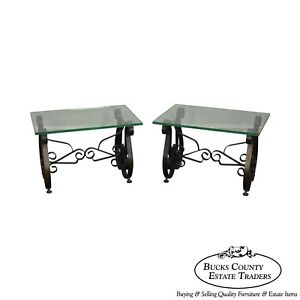 Hollywood Regency Pair Mid Century Scrolled Iron Lyre Base Glass Top Sidetable