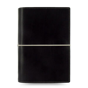 Filofax Personal Size Domino Organiser Diary Book Notebook Black Leather Busines