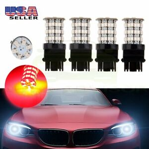 4x 3157 60smd Pure Red Led High Power Tail Brake Stop Light Bulb 3057 3457 4157