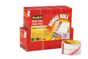Scotch 845 Book Tape Assorted Widths 3 Inch Core Crystal Clear Pack Of 8