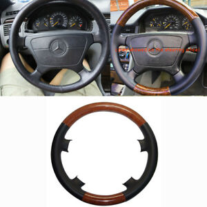 Black Leather Wood Steering Wheel Cover Mercedes Benz W210 E Class 95 99 W202 C