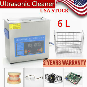6l Ultrasonic Cleaner Stainless Steel Cleaning Machine Heated Jewelry Cleaner Us