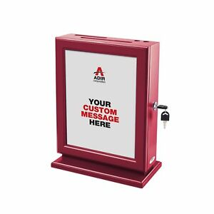 Adir Customizable Wood Suggestion Box Red With 25 Suggestion Cards