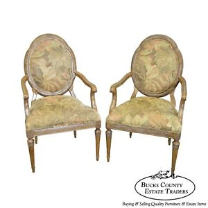 Jeffco French Louis Xvi Style Pair Of Fauteuils Arm Chairs B