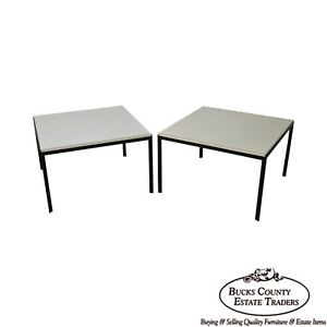 Knoll Pair Of Black Iron Base Square White Top Side Tables