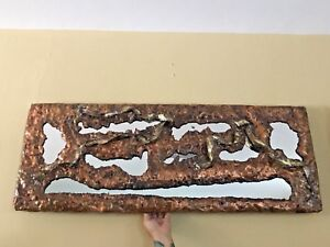 Brutalist Copper And Mirror Wall Hanging Signed 4 X 1 5