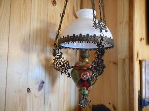 Beautiful 4ft Antique Figural Hanging Chandelier Kerosene Oil Light Lamp Amazing