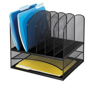 Desk Organizer Black Mesh Steel Letter Tray Sorter Document Office File Holder