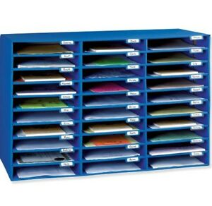 Office Classroom Mailbox 30 Slot Paper Blue Organizer Sorter Supply Tool Gifts
