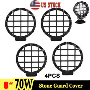 4x Black Stone Guard Cover For 6 Inch 70w Round Led Work Light Lamp Offroad 4x4