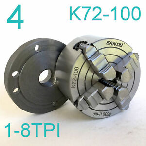 1pc Lathe Chuck 4 4jaw Independent Jaw W back Plate 1 8tpi K72 100 Sct888