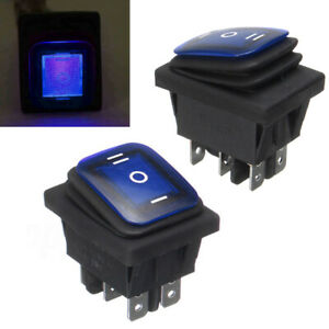 Waterproof 3 position Rocker Switch Blue Led On off on 6 pin Dpdt Ac 10a 250v