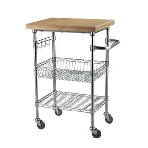 Stainless Steel Rolling Cart Storage Utility Kitchen Island Wood Serving 3 Tier