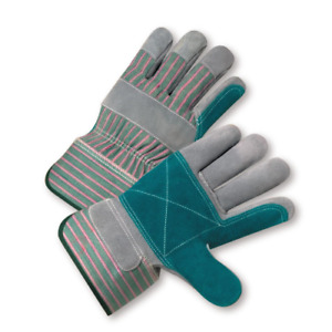 12 Pair Double Palm Shoulder Split Leather Work Gloves Sizes Small xl