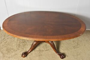 Vintage Crotch Mahogany Banded Oval Claw Foot Coffee Table By Ethan Allen