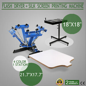 4 Color Screen Printing Press Kit Machine 1 Station Silk Screening Flash
