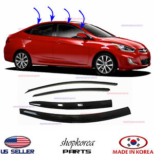 New Smoked Door Visor Window Vent Deflector Fits Hyundai Accent Sedan 2012 2017