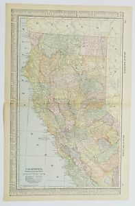 1915 Antique California Map Vintage California Map Old Us Map Ca Map Art