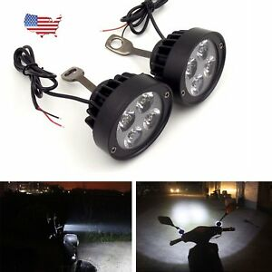 Motorcycle Spot Fog Light Headlight 4 Led Front Head Lamp 12v Pair Universal Us