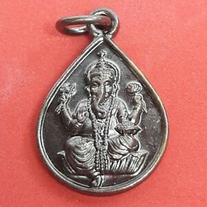 God Ganesh Brass Thai Hindu Sanskrit Amulet Om Pendant Success Wealth Happy Art