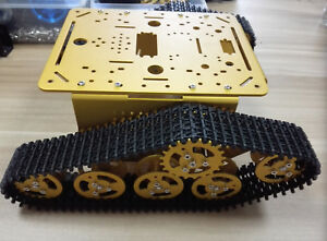 Diy T300 Tank Chassis Metal Tracked Crawler Robotic Smart Car gold Color