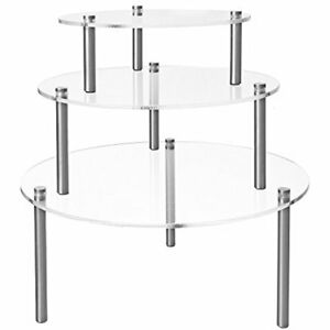 Set Display Risers Of Round Clear Acrylic Retail Risers Dessert Bakery Stand