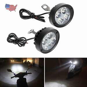 Pair Motorcycle Headlight Spot Fog Lights 4 Led Front Head Lamp 12v Bright Us