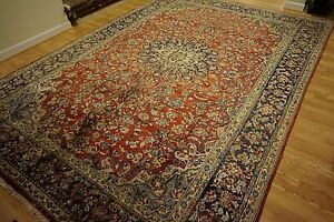 Handmade Persian Isfahan Rustic Red Orange Blue Gold Ivory Turquoise Rug 9x13