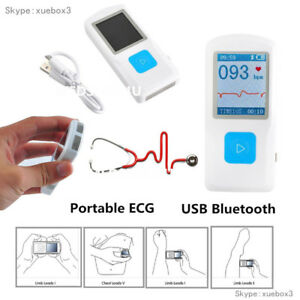 New Fda Handheld Portable Ecg Ekg Machine Heart Beat Monitor Lcd Usb Bluetooth