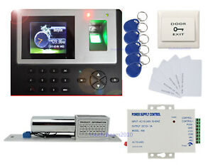 Color Screen Fingerprint Access Control Kit Electric Bolt Lock 110v Power Supply