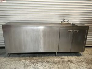 91 Stainless Steel Cabinet 1 Compartment Sink Table Tabco 7255 Commercial Nsf