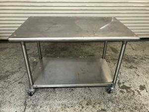 47 5 X 29 5 Stainless Steel Work Table With Shelf On Wheels 7611 Commercial
