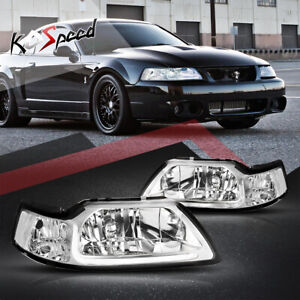 For 99 04 Ford Mustang Chrome Housing Clear Side Front Headlight W With Led Drl