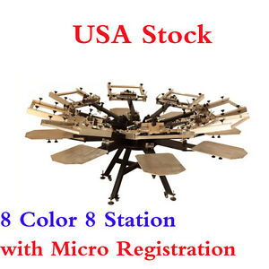 Usa Professional 8 Color 8 Station Screen Printing Machine Micro Registration