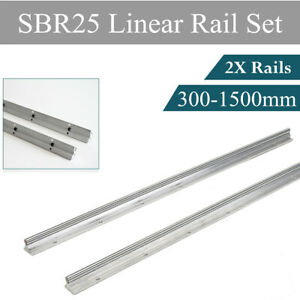 2pcs Sbr25 25mm Guide Linear Rail Shaft Rod 300 1500mm Fully Supported Slide Rod