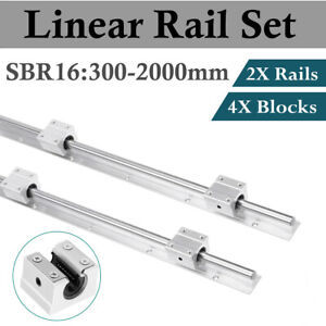 2pcs Sbr16 300 1500mm optional Linear Slide Guide Shaft Rail 4pcs Sbr16uu Block