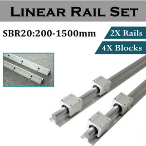2x Sbr20 Linear Rail Shaft Rod 200 1500mm With 4pcs Sbr20uu Block Bearing