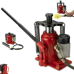 Hydraulic Bottle Jack 20 Ton Capacity Low Profile Air Auto Tool Heavy Duty Steel