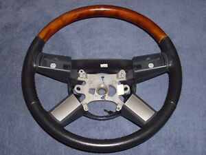 05 10 Chrysler 300c Charger Magnum Slate Leather Woodgrain Steering Wheel