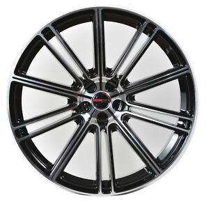 4 Gwg Wheels 20 Inch Black Machined Flow Rims Fits Lincoln Towncar 2000 2002